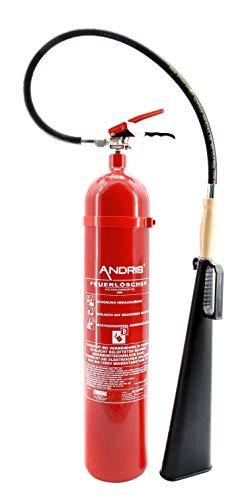 Feuerlöscher 5kg CO² Kohlendioxid für EDV geeignet mit Holzgriff am Schneerohr, EN 3 inkl. ANDRIS® Prüfnachweis mit...