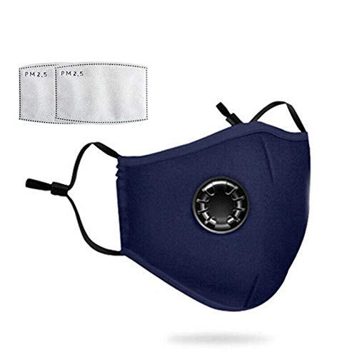 Staubmaske mit 2 Filtern Atemschutzmaske Mundmaske Gesichtsmasken Staub Anti-Verschmutzungs-Anti-Smog PM2.5 Waschbar...