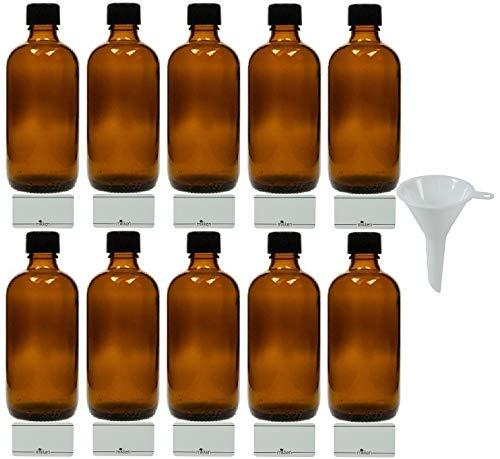 mikken 10 x braune Apothekerflasche 100ml Made in Germany, inkl Beschriftungsetiketten + Trichter