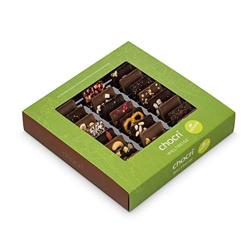 """Vegane Weltreise von chocri - 24 kleine Schoko-Tafeln aus milchfreier/laktosefreier Zartbitterschokolade und """"Vegolade""""..."""