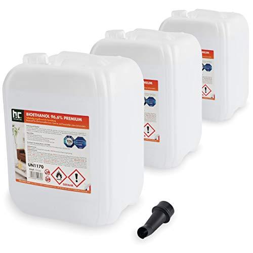 Höfer Chemie 30 L (3 x 10 L) Bioethanol 96,6% Premium - TÜV SÜD zertifizierte QUALITÄT - für Ethanol Kamin, Ethanol...