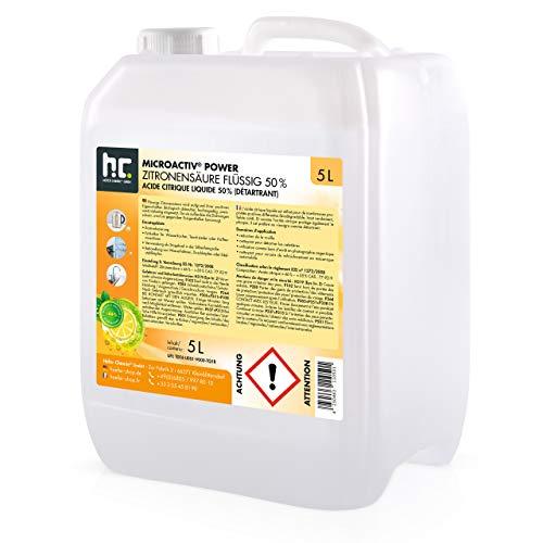 Höfer Chemie 2 x 5 Liter Zitronensäure 50% flüssig handlichen 5L Kanistern - TECHN. QUALITAET