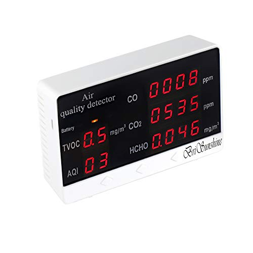 Luftqualität Monitor Messgerät Air Quality Detector, Kohlendioxid Tester für Innenräume CO2 CO HCHO AQI TVOC Portable...