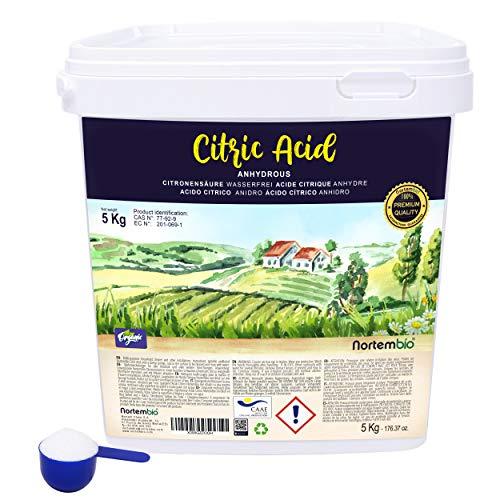 Nortembio Zitronensäure 5 Kg. Wasserfreies Citronensäure Pulver, 100% Reine. Für Ökologischen Produktion. E-Book...