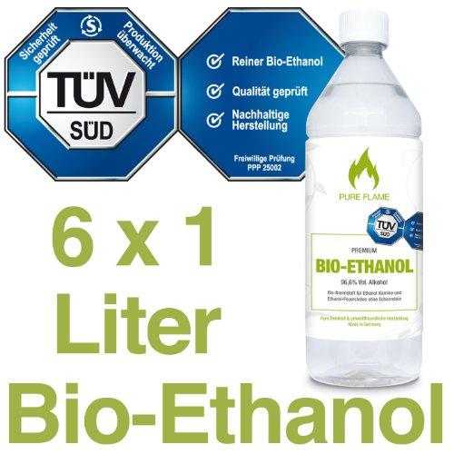 Bioethanol 96,6 – 6x1L Flaschen zum handlichen Gebrauch - TÜV geprüfte Reinheit, Qualität, Sicherheit & nachhaltige...