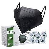 FFP2 Maske CE Zertifiziert Schwarz - 25 Stück Maske - Premium hygienische Einzelnverpackung Atemschutzmaske 5 Lagige...