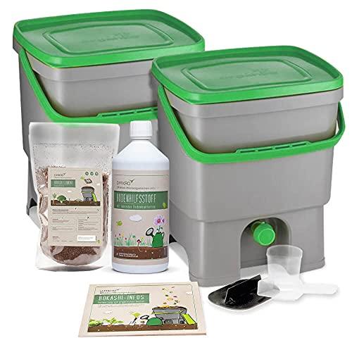 DIMIKRO Bokashi Eimer Starterset - 2 Eimer (grau/grün 16 Liter) inkl. EM aktiv + Bokashi Ferment + Bokashi...