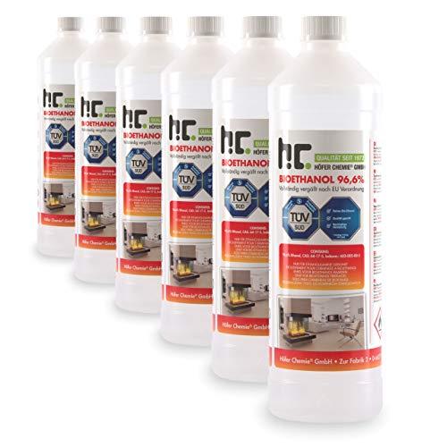 Höfer Chemie 6 x 1 L Bioethanol 96,6% Premium - TÜV SÜD zertifizierte QUALITÄT - für Ethanol Kamin, Ethanol Feuerstelle,...