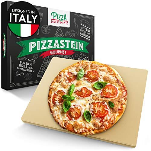 Pizza Divertimento - Pizzastein für Backofen und Gasgrill – Pizza Stein aus Cordierit bis 900 °C – Pizza Stone für...