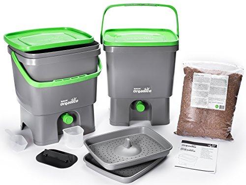 Bokashi Organico 2er Set - 2 x 16 Liter mit Ferment - Innovativer Bio Abfalleimer - Biomülleimer - Komposteimer für...